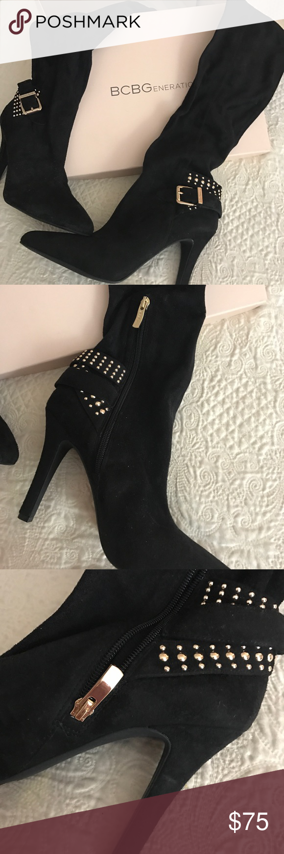 """BCBGeneration Black Suede Eileen Boot, Sz 10 New! BCBGeneration black suede (synthetic) Eileen boot. Shaft approx 14"""", heel 4"""", circumference approx 16"""". Super stylish, gold tone details. Pointed toe. Brand new, never worn! BCBGeneration Shoes Heeled Boots"""