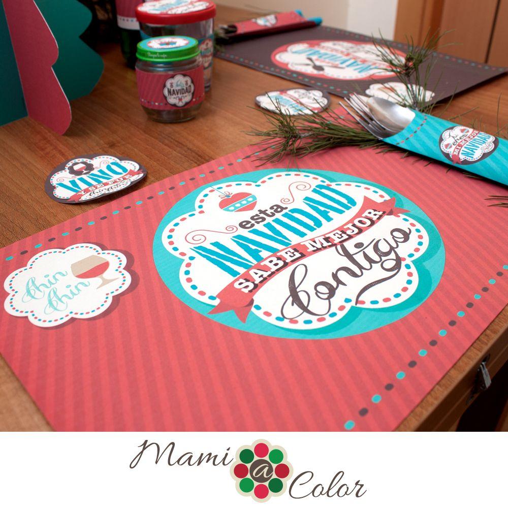 Set de mesa navidad manteles individuales en a3 porta cubiertos y coasters posa vasos listos - Individuales para mesa ...