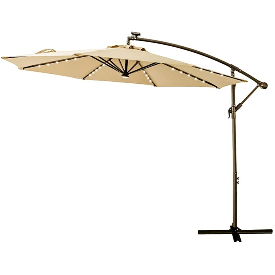 C Hopetree 10 Offset Cantilever Hanging Umbrella With Solar Led Lights For Large Outdoor Patio Table Outdoor Patio Umbrellas Patio Umbrella Outdoor Patio Table