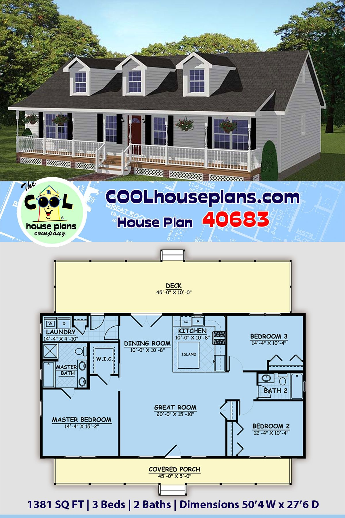 Southern Style House Plan 40683 With 3 Bed 2 Bath Ranch House Plans House Plans Small Floor Plans