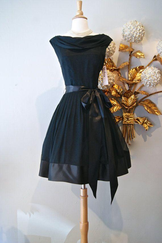 844b0b72b2e2 Reserved//Vintage 60s Dress / 1960's Little Black Chiffon Drape Cocktail  Dress........I like this one!