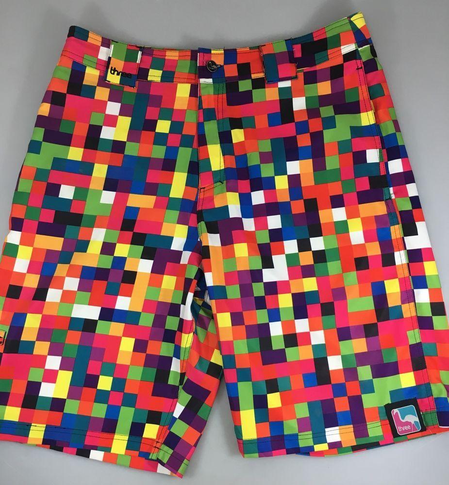 c0c93843cea1a 3 Keith Lidberg Men 34 Multi-Color Pop Art Checkerboard Swim Trunks Board  Shorts #KeithLidberg #BoardShorts