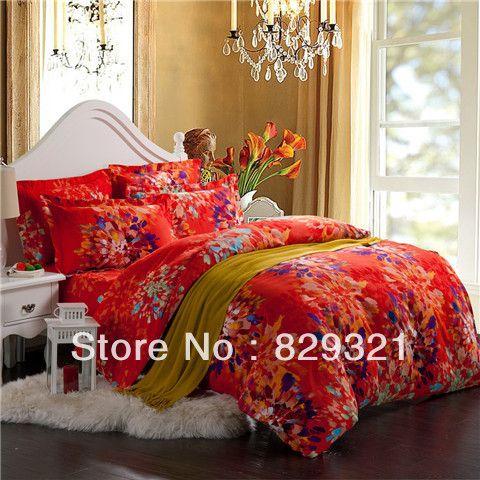 100 cotton brushed reactive printed orange bedding sets,bedspreads