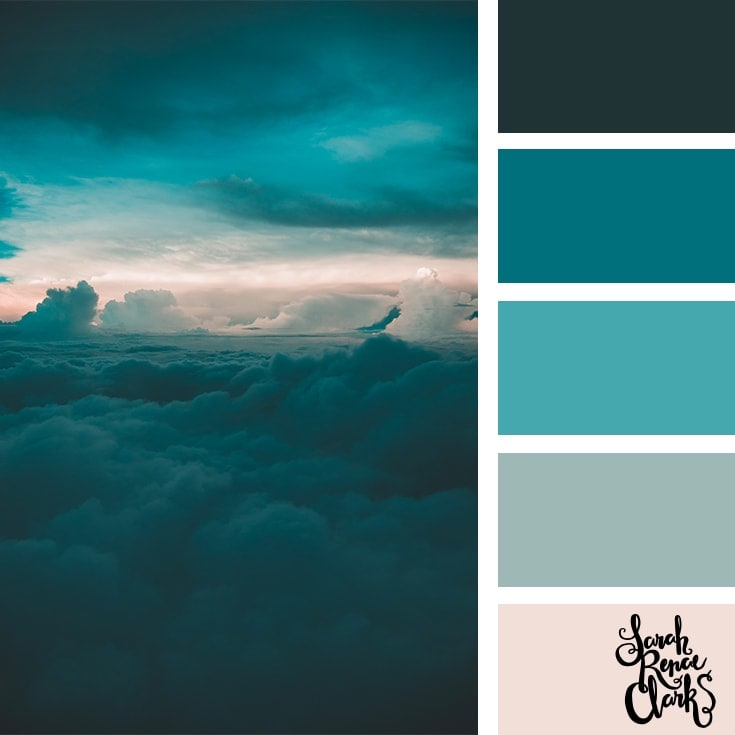 Teal Sky // These 25 color combinations are inspired by beautiful clouds, sunsets and nature's creativity in the sky! Check out these 25 color palettes inspired by Classic Blue and other beautiful skies at www.sarahrenaeclark.com #colorpalette #colorscheme #colorcombo #color