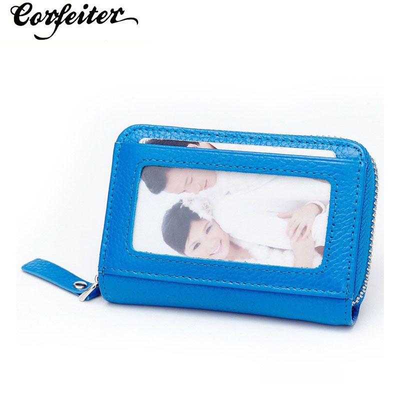 fashion women Credit Card Holder Genuine Leather men Wallet small ...