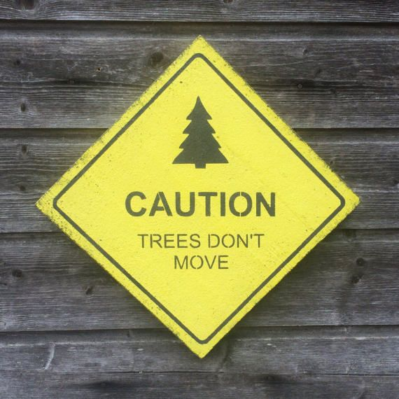 Wood sign / Wall decor / Caution Trees don\'t move / | Apex condo ...