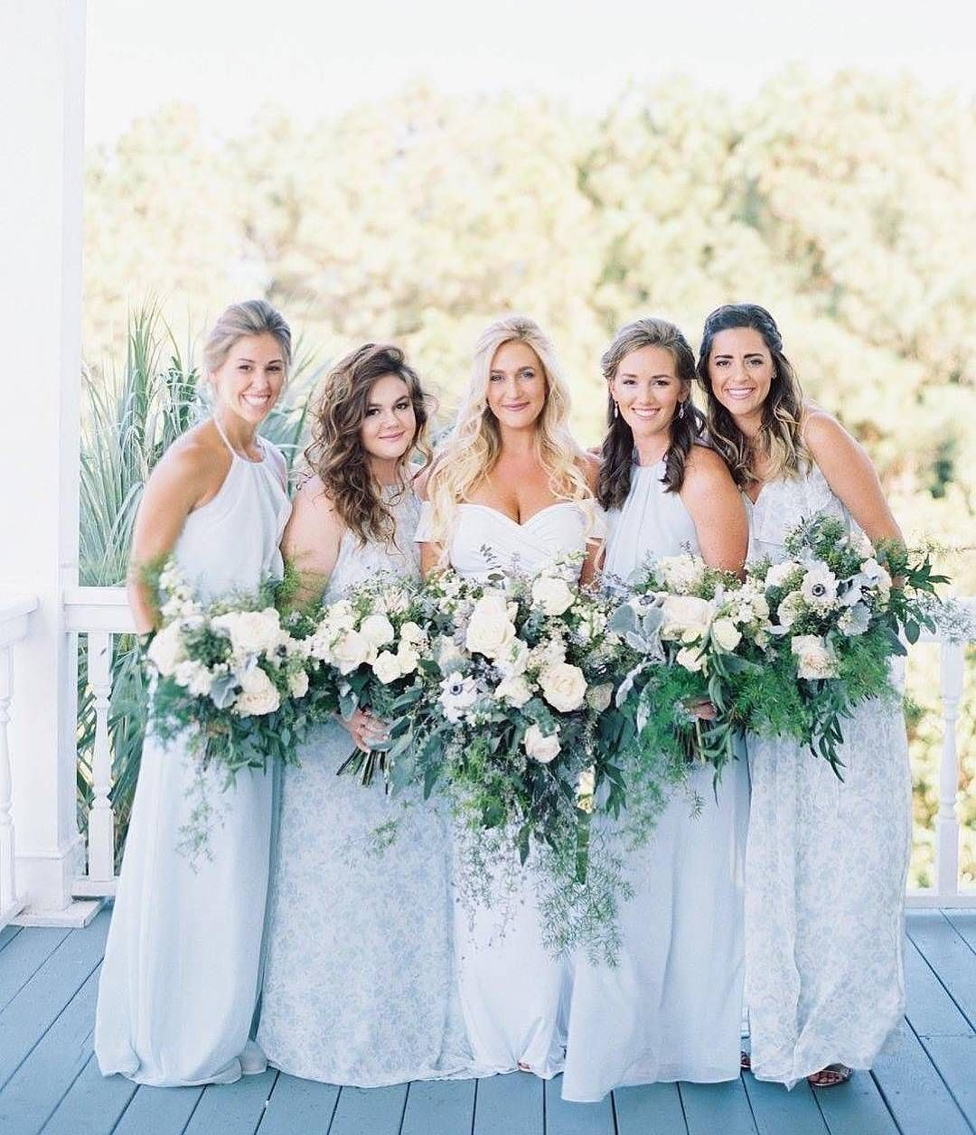e247910f000 44 Long Bridesmaid Dresses That You Will Absolutely Love - Baby blues in a  mix and match of solid and print bridesmaid dress  weddingideas  bridesmaid    ...
