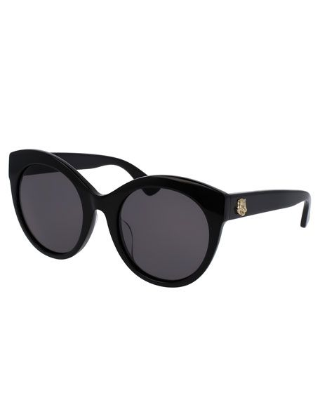 06884d052206 GUCCI Monochromatic Oversized Rounded Cat-Eye Sunglasses, Black. #gucci #