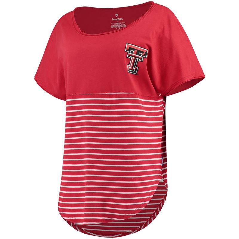 ae1caeb3 Texas Tech Red Raiders Women's Colorblock Stripe Cutoff T-Shirt ...