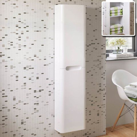 Phenomenal 1400Mm Tuscany Gloss White Tall Wall Mounted Storage Cabinet Home Interior And Landscaping Ologienasavecom