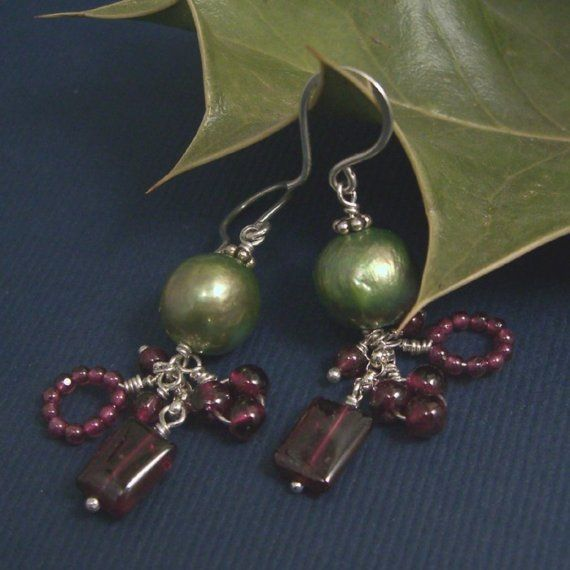 E428 SALE Green Pearls and Garnets by Experimetal on Etsy