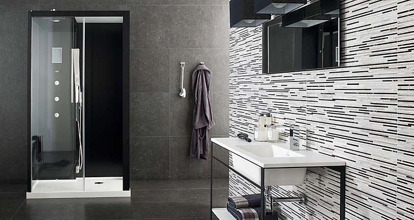 this porcelanosa tile looks great just across one wall adding a touch of light to the room