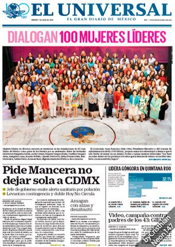 El Universal (México) - 07 Abril 2016 - Pide Mancera no dejar sola a CDMX