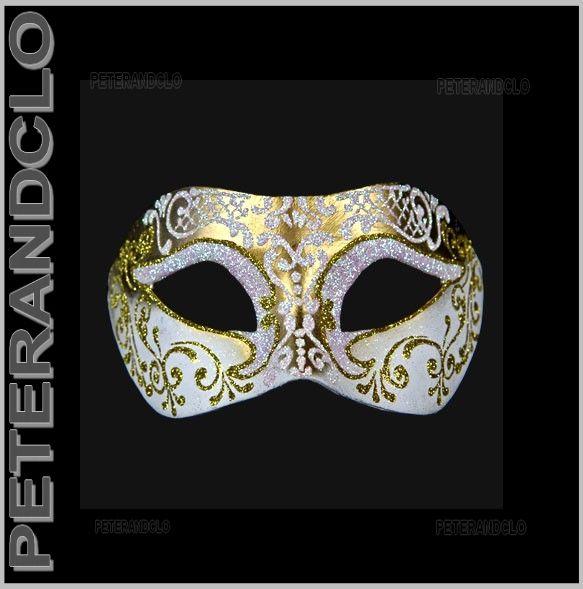Masque de venise colombine blanc et dore authentique papier mache 145 diy masques - Masque papier mache ...