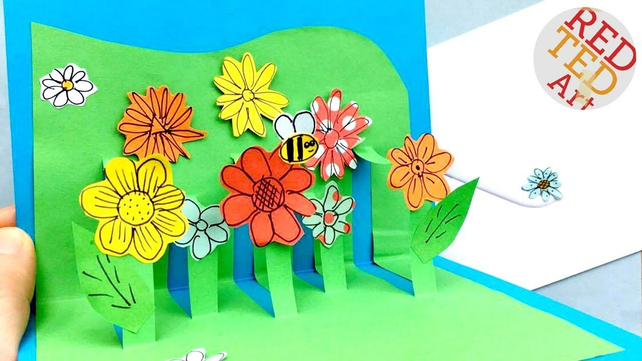 Easy Pop Up Flower Card Diy Mother S Day Card Tutorial Get Well Soon Pop Up Flower Cards Love Pop Up Cards Diy Pop Up Cards
