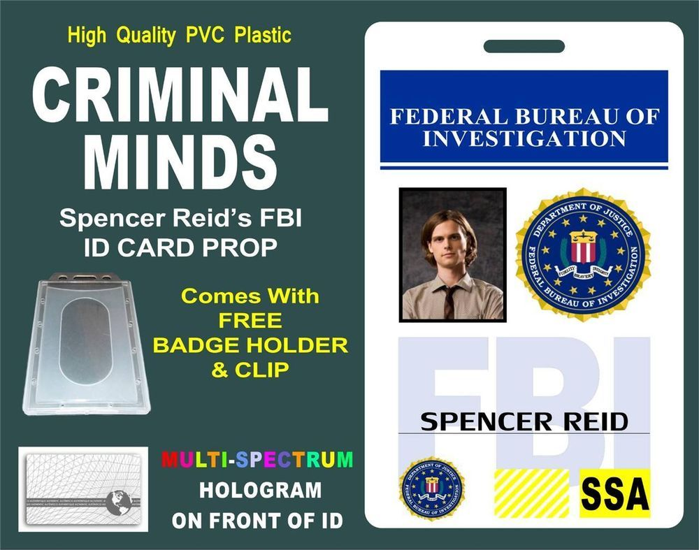 b57b36356ec1 CRIMINAL MINDS ID Badge   Card Prop    SPENCER REID    FBI ID - PVC W   Hologram in Entertainment Memorabilia