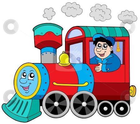 Steam Locomotive With Engine Driver Train Cartoon Locomotive Steam Locomotive