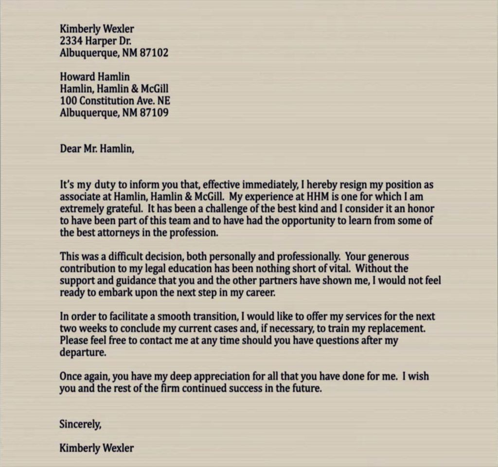 A Good Example For A Letter Of Resignation. You Will Have To Write One, One  Day.  One Day Resume