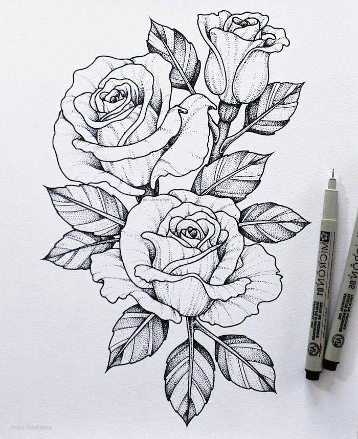 1001 Images De Dessin De Fleur Pour Apprendre à Dessiner Dessin De Fleur Fleur Noir Et Blanc Tatouage Rose Dessin