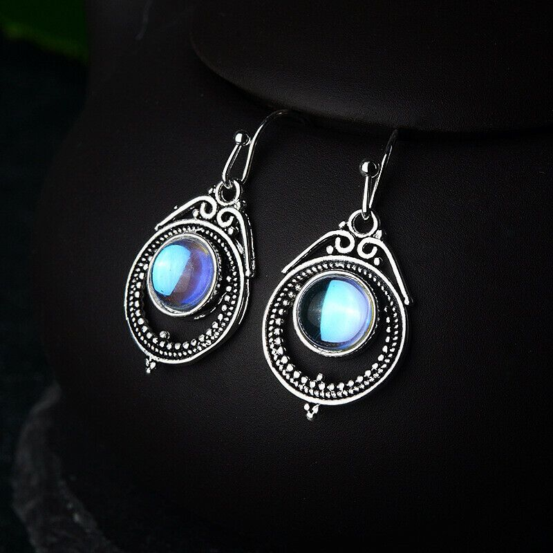 Vintage Fashion Moonstone Crystal Dangle Earrings Silver Uk Seller Ebay In 2020 Crystal Dangle Earrings Silver Earrings Dangle Earrings