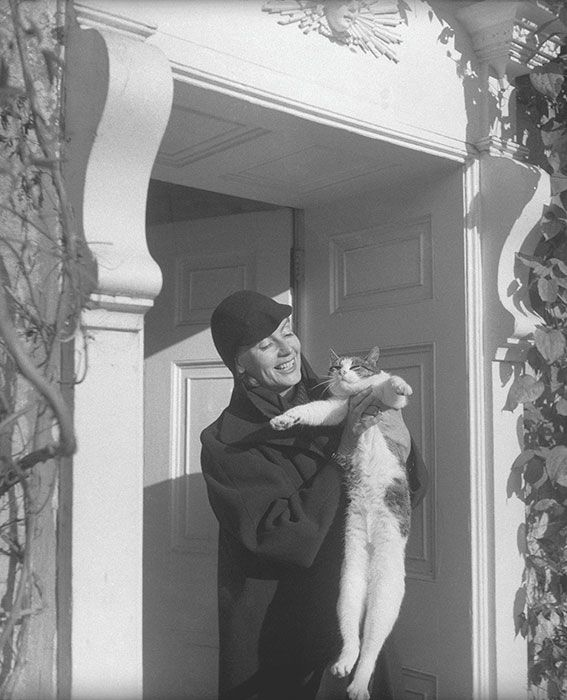 Discover Hollywood's Most Glamorous Feline Lovers in Cat Lady Chic - GRETA GARBO, 1951 from InStyle.com