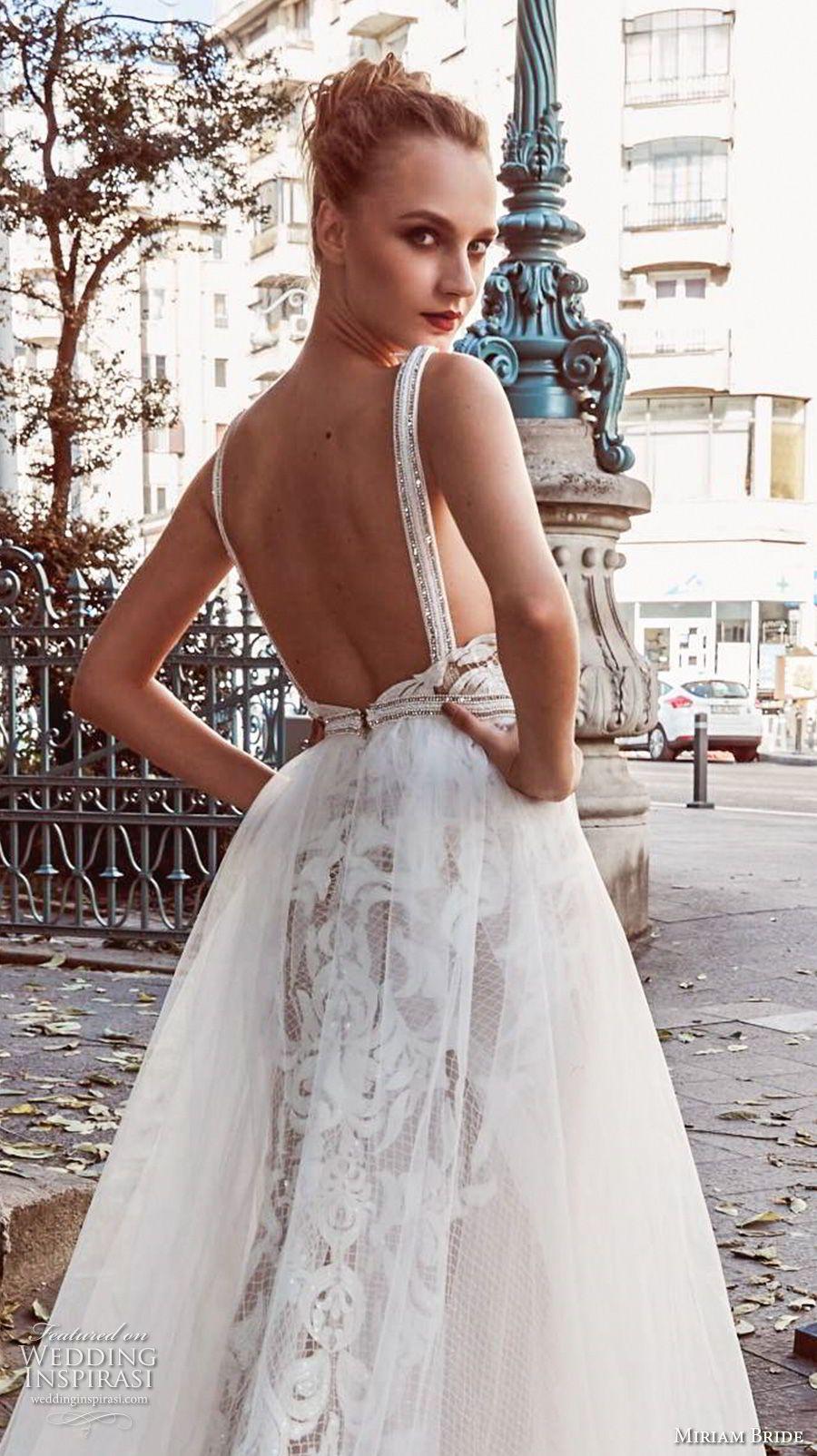 Miriams Braut 2018 Braut ärmelloses tiefes V-Ausschnitt schwer ...