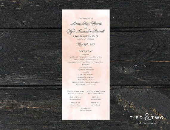 watercolor wedding program wedding program diy printable wedding