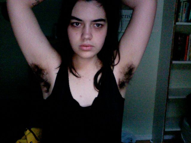 Quite girl with hairy armpits