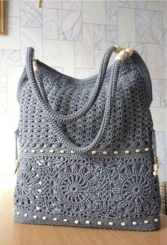MADE TO ORDER graue Handarbeit gehäkelte Handtasche. Sommer Baumwolle Boho häkeln Geldbörse. … - Modische Taschen #crochethandbags