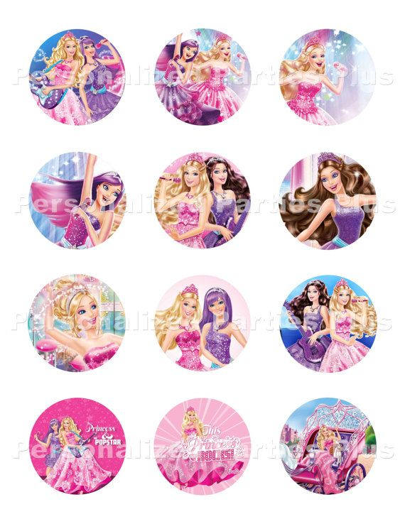 Barbie And The Popstar Stickers Cupcake Toppers By