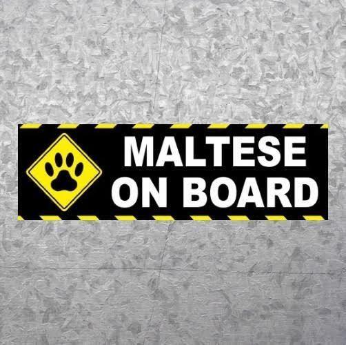New maltese on board dog breed bumper sticker car decal puppy
