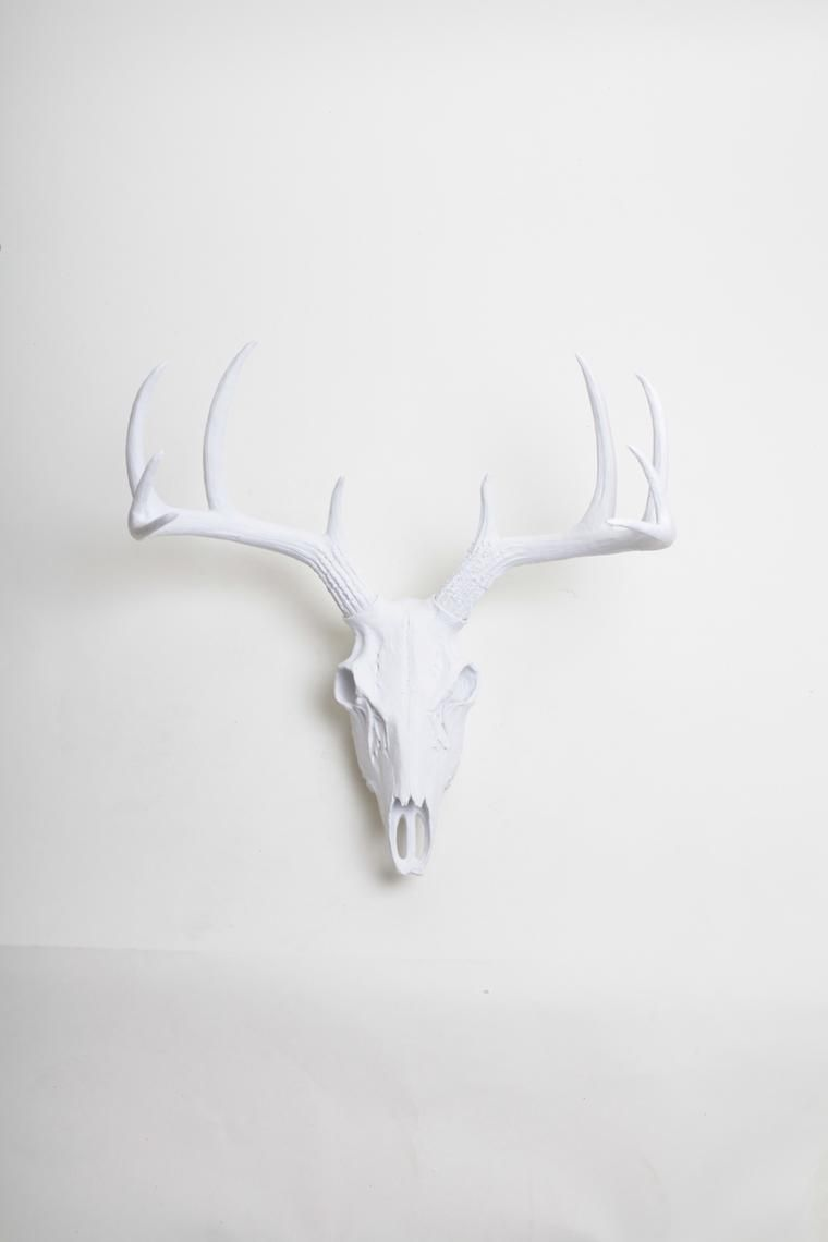 White Faux Deer Skull Stag Skeleton White Resin Faux Deer White Faux Taxidermy Deer Skulls