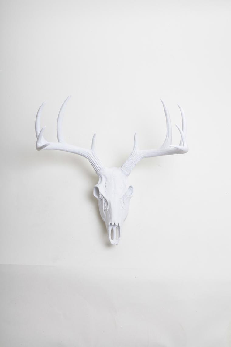 White Faux Deer Skull Stag Skeleton White Resin Faux Deer White Faux Taxidermy Deer Skulls