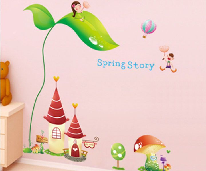 2015 large green castle creative wall sticker korean plane wallstickers decoration for kids new product wallpaper affiliate