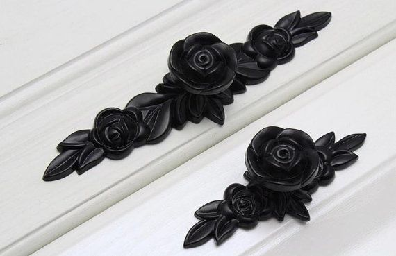 Black Rose Knobs Flower Pulls Handles unique cabinet