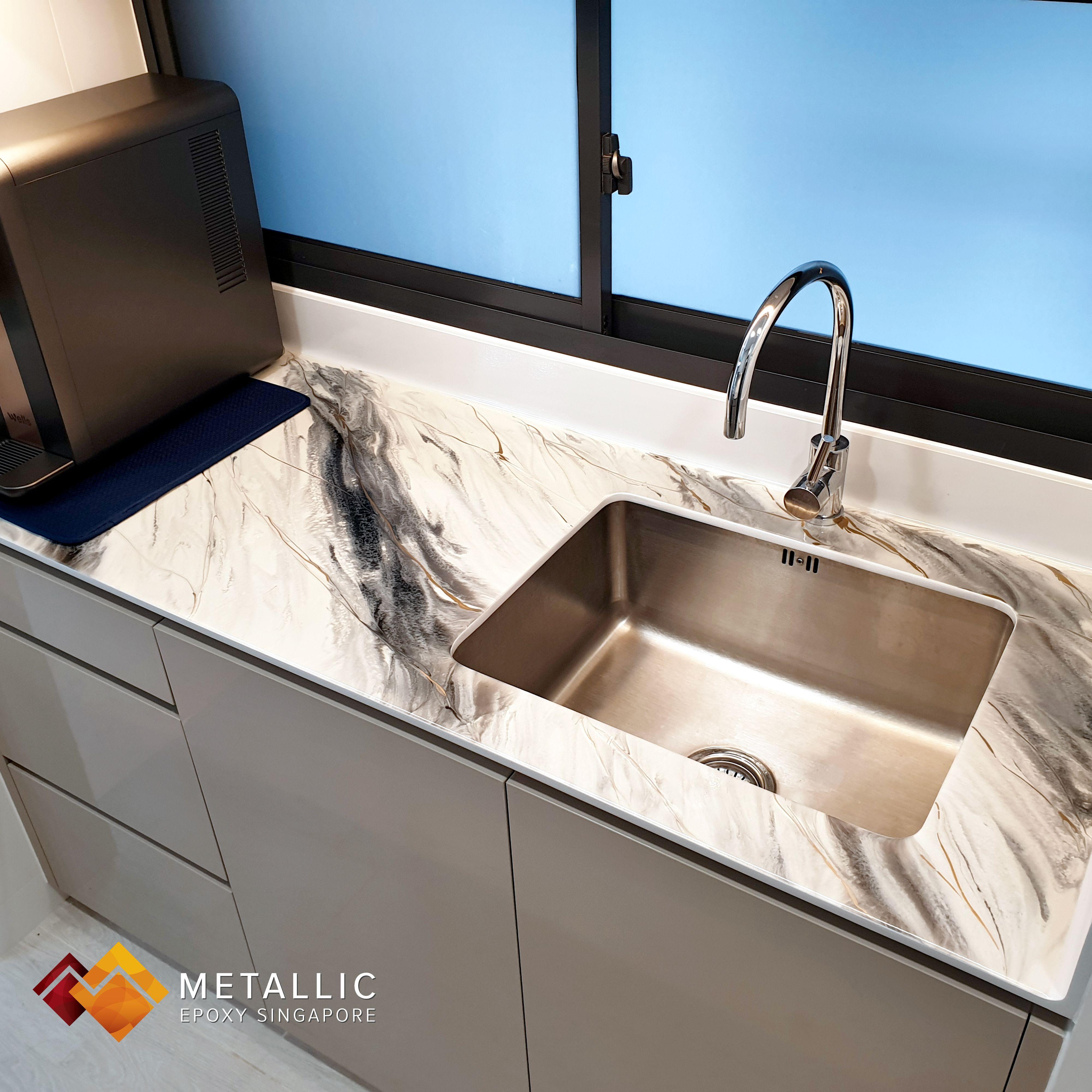 Metallic Epoxy Singapore Silver Black Highlights Gold Veins Marble Countertop Countertops Countertop Design Kitchen Countertops