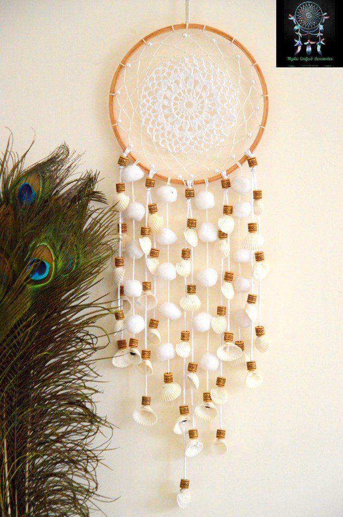 Mystic White Crochet Doily Dreamcatcher with SeashellsBuy online on www.utopiancraftsmen.com +91 909 659 5656