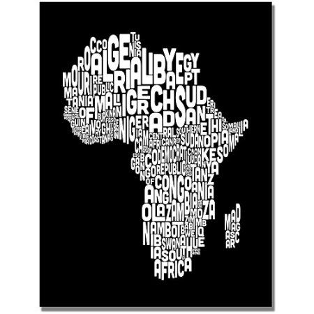 Trademark Art Africa Font World Map Canvas Art by Michael Tompsett, Size: 18 x 24, Black