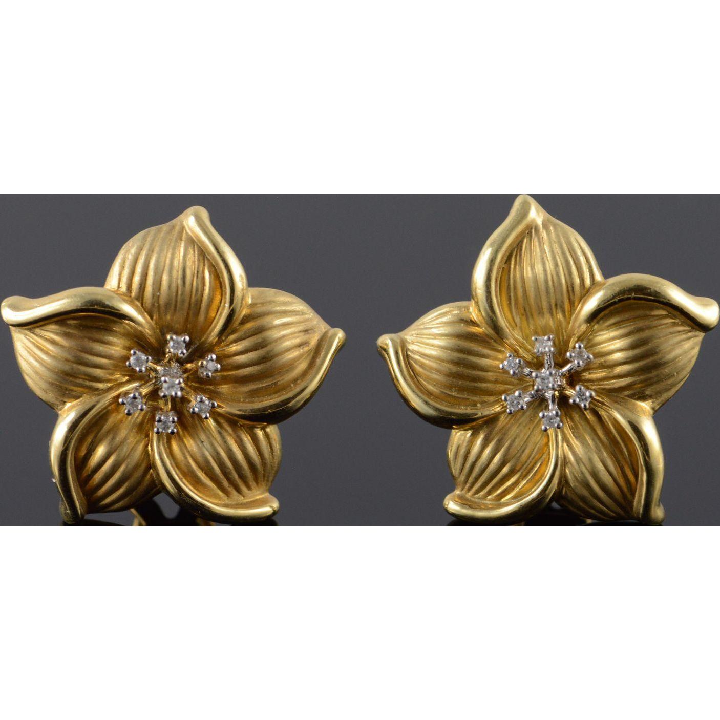 14K 0.10 CTW Diamond Fancy Detailed Flower French Clip Earrings Yellow Gold