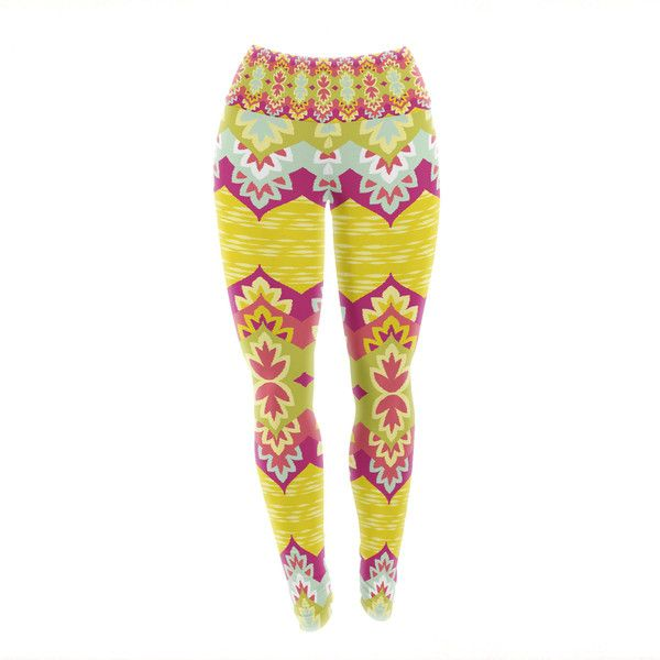 Amanda Lane Bohemia Yellow Pink Patterned Yoga Leggings Matches Yoga... (69 CAD) ❤ liked on Polyvore featuring activewear, activewear pants, leggings, silver, women's clothing and yoga activewear