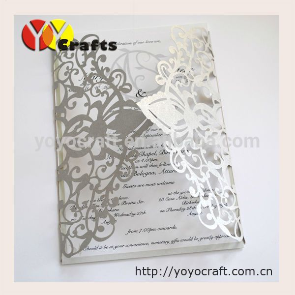 Inc72 Silver Fl Columbian Wedding Invitation With Envelope And Insert 100 Sets Laser Cut
