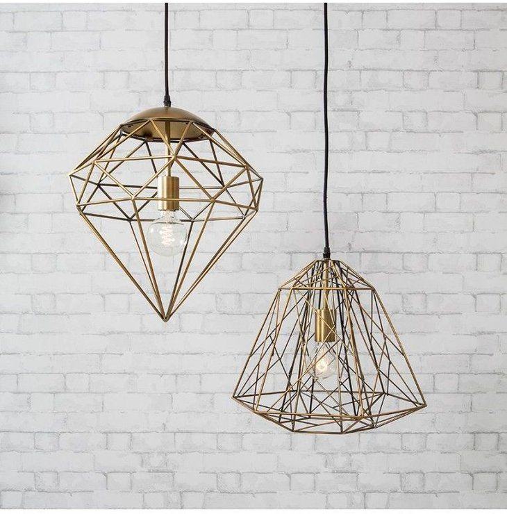 Roxbury Gold Wire Cage Diamond Pendant Light (Pendant light) | image 2