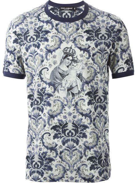 Shop Dolce & Gabbana baroque print T-shirt in Dell'oglio