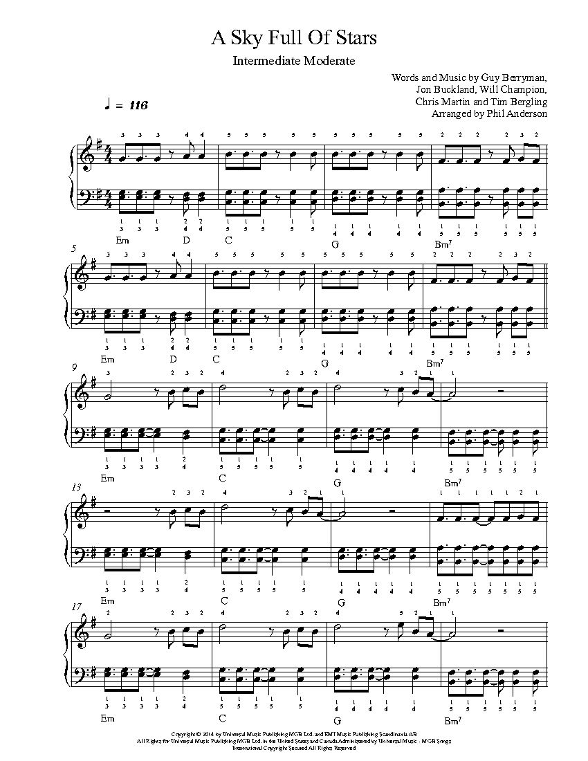 A Sky Full Of Stars By Coldplay Piano Sheet Music Intermediate
