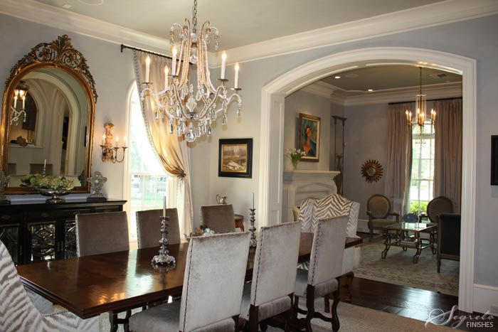 Love The Idea Of A Large Mirror Over The Side Buffet Nicely Sized Chandelier House Styles