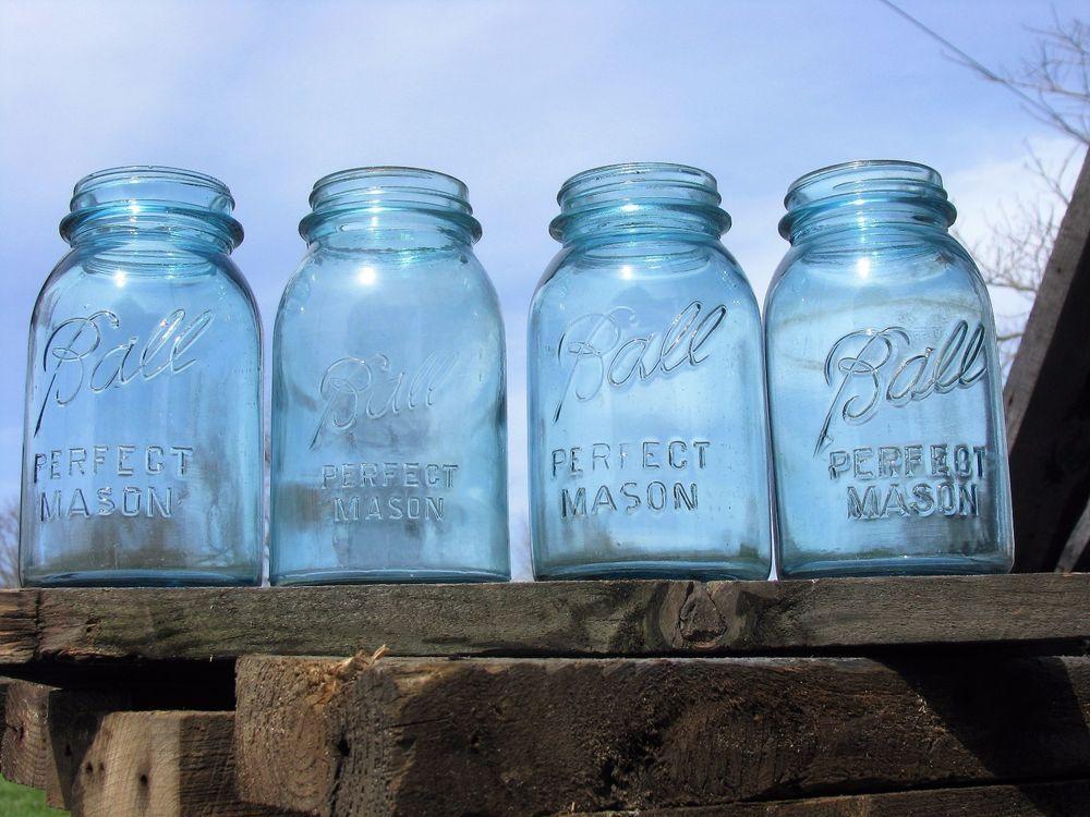 Lot Of 4 Vintage Ball Perfect Mason Jars 1923 1933 Original
