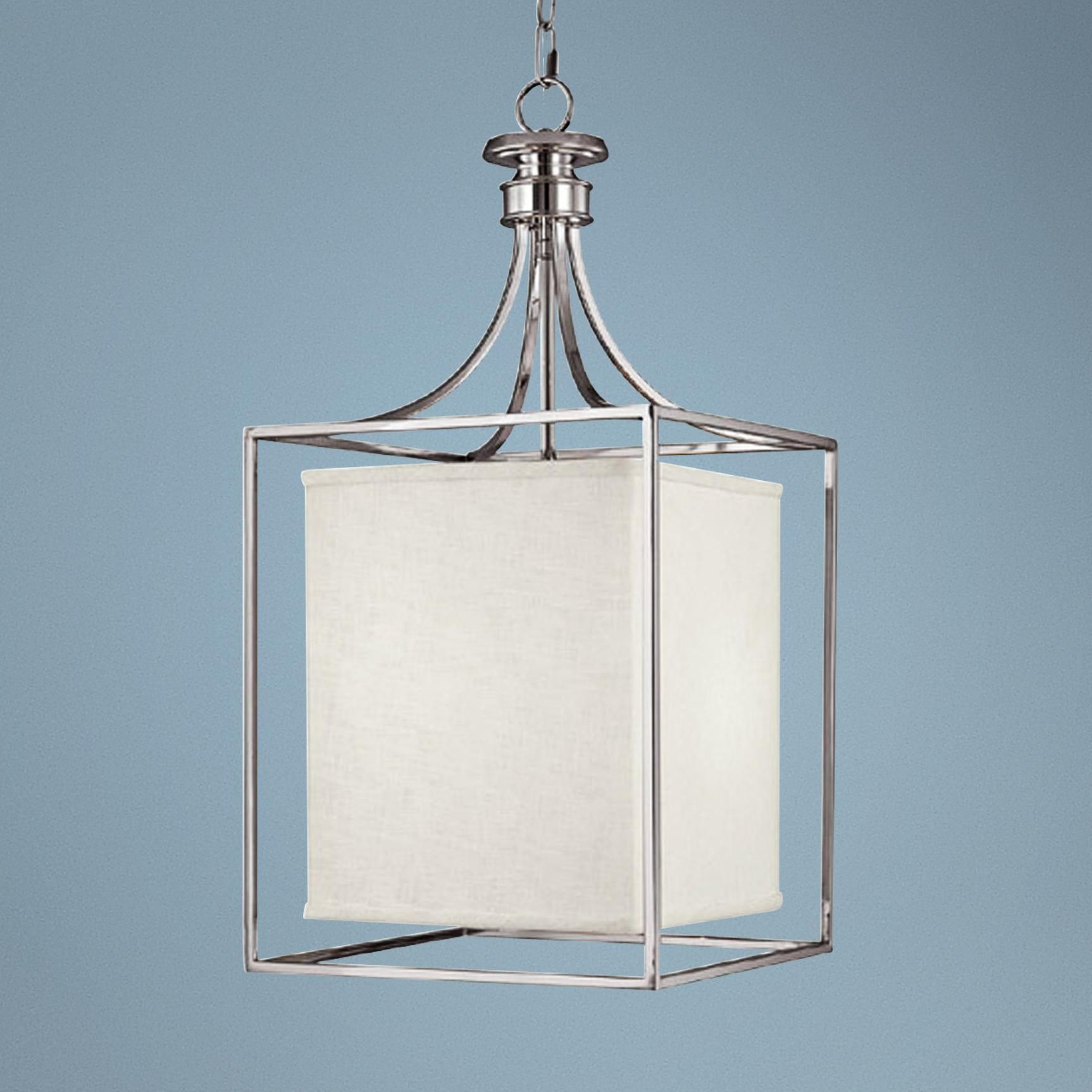 Midtown Collection Polished Nickel Square Foyer Chandelier ...