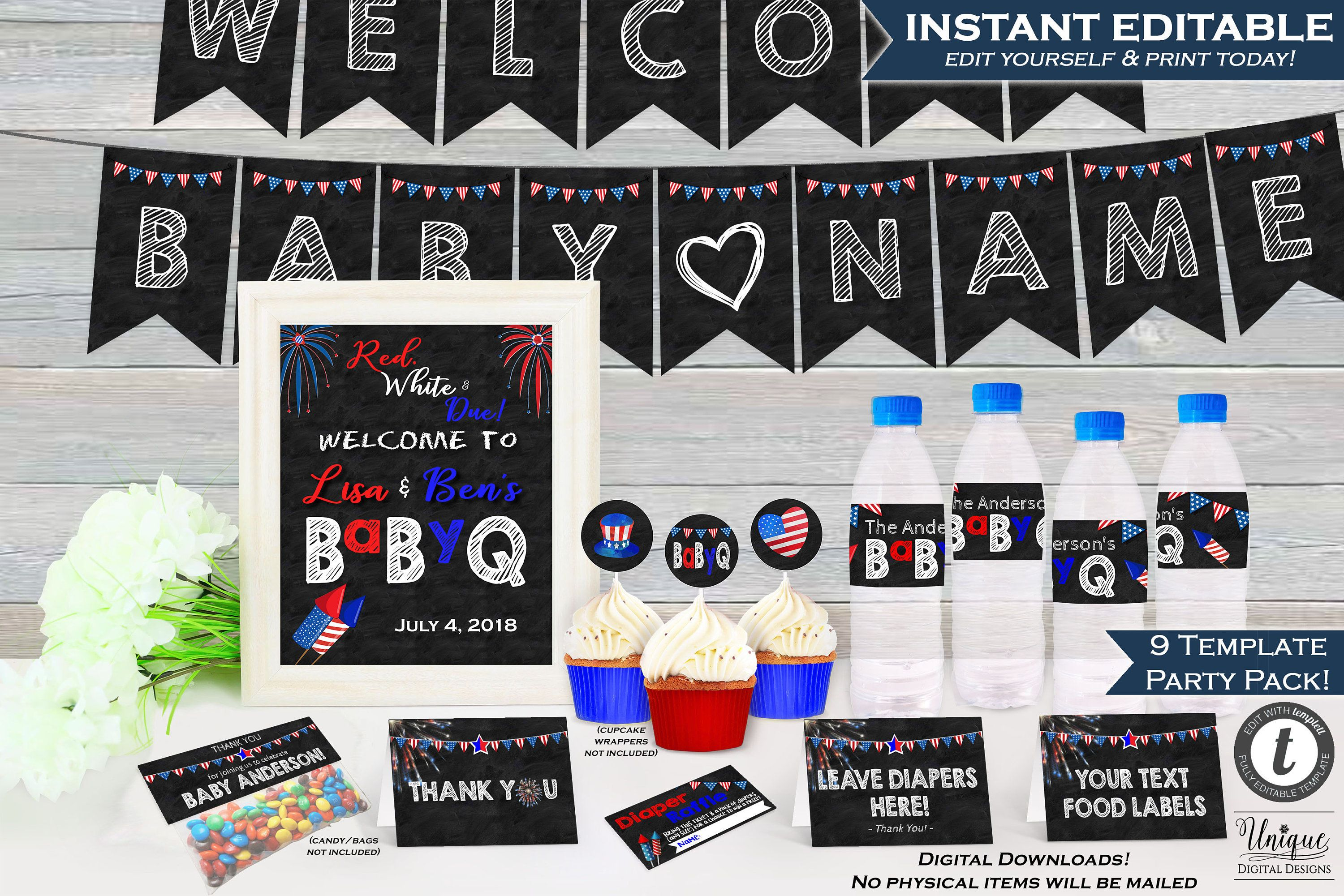4Th Of July Babyq Decoration Party Pack Kit Bundle July