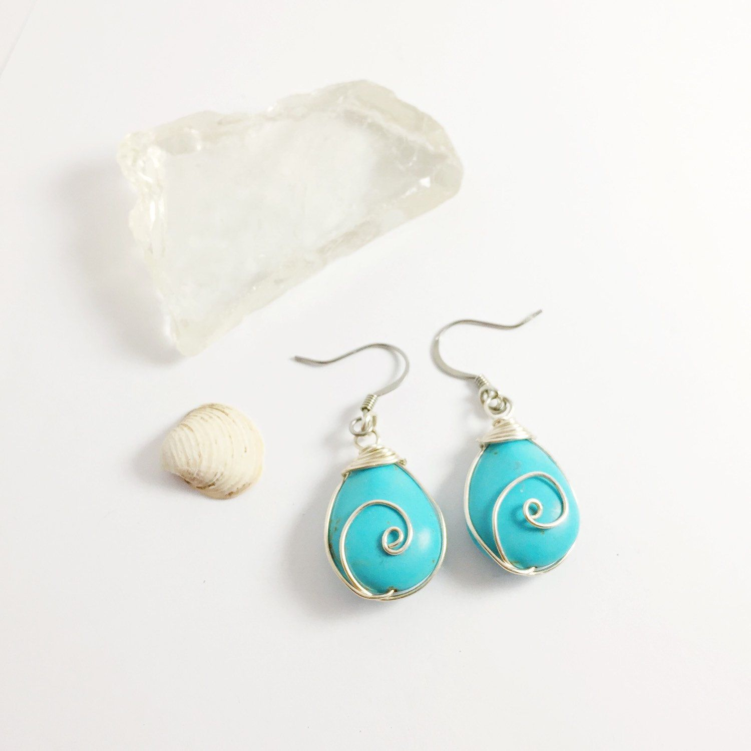 Turquoise Wirewrapped Tear Drop Earrings | Minimalist Jewerly | Gifts under 10 | Dainty Boho Drop Earrings | Mothee Daughter Gifts by MagnificentMouse on Etsy