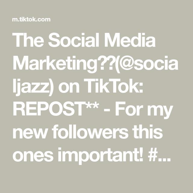 The Social Media Marketing👸🏽(@socialjazz) on TikTok: REPOST** - For my new followers this ones important! #marketingtiktok#smallbiztiktok#smallbiztips#marketingtips#socialmediamanager#smallbusinesstips_